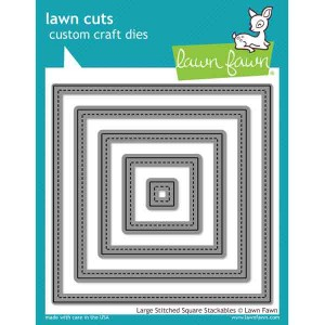Lawn Fawn Large Stitched Square Stackables Lawn Cuts