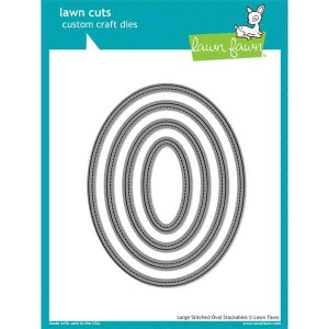 Lawn Fawn Large Stitched Oval Stackables Lawn Cuts