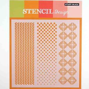 Penny Black Oscillations Stencil class=