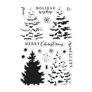Hero Arts Color Layering Christmas Trees Stamp Set class=