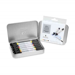 Winsor & Newton Watercolor Marker Set, 6 colors class=