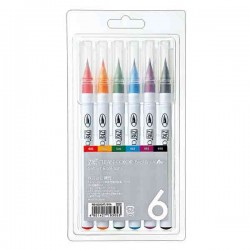 Zig Clean Color Real Brush Markers, 6 colors
