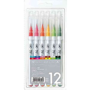 Zig Clean Color Real Brush Marker, 12 color set