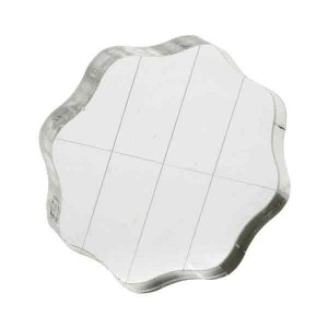 "Apple Pie Acrylic Stamp Block W/Grips & Grid - 2.5"" diameter"
