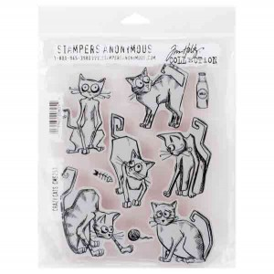 Stampers Anonymous Tim Holtz Crazy Cats Stamp Set