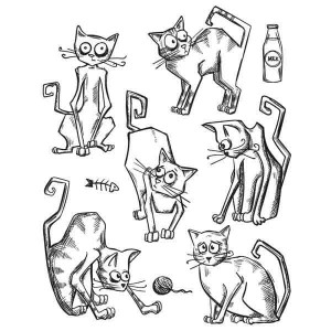 Stampers Anonymous Tim Holtz Crazy Cats Stamp Set class=