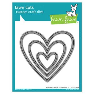 Lawn Fawn Stitched Heart Stackables Lawn Cuts