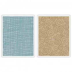 Burlap & Swirls Embossing Folder Set by Tim Holtz