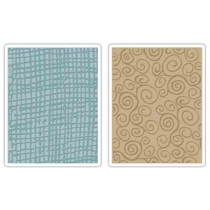Sizzix - Tim Holtz Burlap & Swirls Embossing Folder Set class=