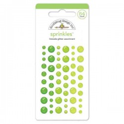 Self Adhesive Translucent Glitter Enamel Dots - Limeade