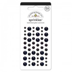 Self Adhesive Glitter Enamel Dots - Beetle Black
