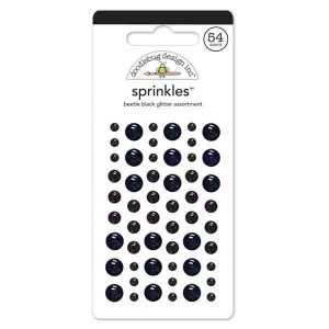 Self Adhesive Glitter Enamel Dots - Beetle Black