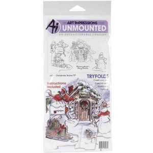Art Impressions Christmas Scene Try'folds Cling Rubber Stamps class=