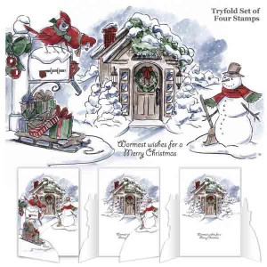 Art Impressions Christmas Scene Try'folds Cling Rubber Stamps
