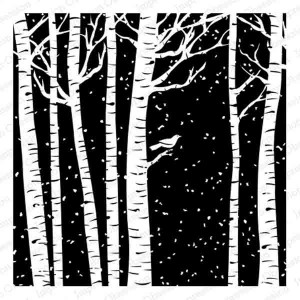 Impression Obsession Cover-A-Card Birch Trees Stamp