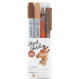 Copic Marker Start Sketching Set - Sepia Collection class=