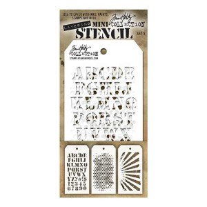 Tim Holtz Mini Layered Stencils, Set #5 class=