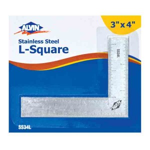 "Alvin® 3"" x 4"" L-Square Stainless Steel Ruler"