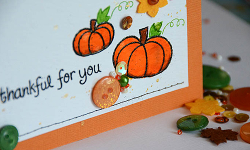 This was a lot of fun – I used a favorite Lawn Fawn pumpkin stamp set and it would work well with a wide variety of stamp sets where there are small images and sentiments meant to go together.