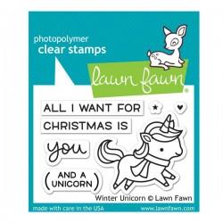 Lawn Fawn Winter Unicorn Stamp Set