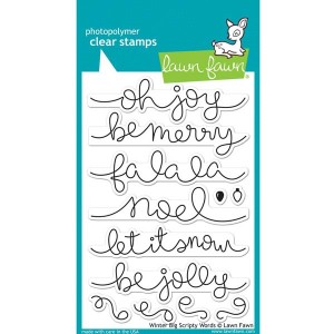 Lawn Fawn Winter Big Scripty Words Stamp Set
