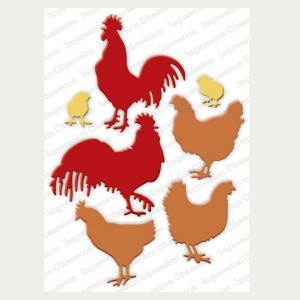 Impression Obsession Roosters & Chickens Die Set class=