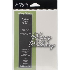 Poppystamps Vintage Happy Birthday Craft Die class=