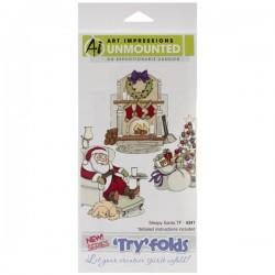 Art Impressions Sleepy Santa Try-Fold Cling Stamp Set