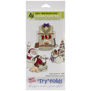 Art Impressions Sleepy Santa Try-Fold Cling Stamp Set class=