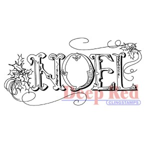 Deep Red Vintage Noel Cling Stamp