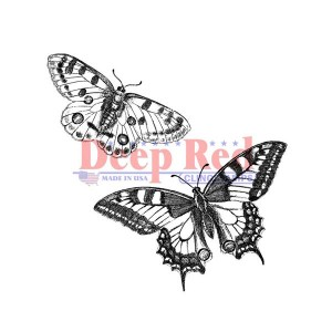 Deep Red Butterflies Pair Cling Stamp