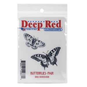 Deep Red Butterflies Pair Cling Stamp class=