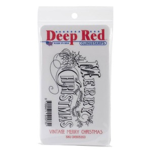 Deep Red Vintage Merry Christmas Cling Stamp class=