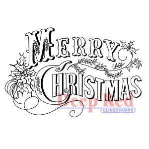 Deep Red Vintage Merry Christmas Cling Stamp