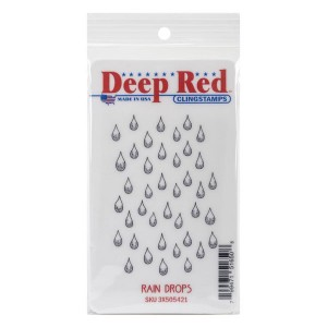 Deep Red Rain Drops Cling Stamp class=