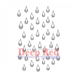 Deep Red Rain Drops Cling Stamp