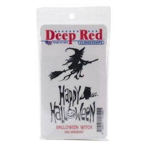 Deep Red Halloween Witch Cling Stamp class=