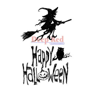Deep Red Halloween Witch Cling Stamp