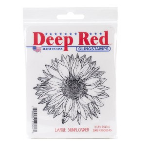 Deep Red Large Sunflower Rubber Stamps class=