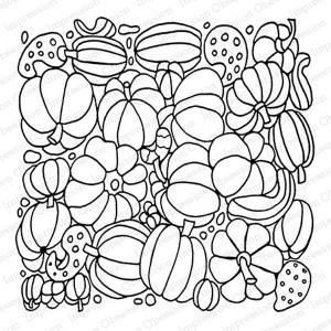 Impression Obsession Pumpkins Background Stamp