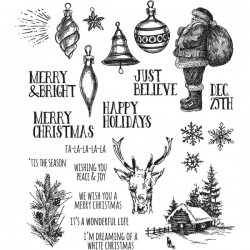 Stampers Anonymous Tim Holtz Holiday Drawings Stamp Set