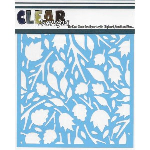 "Clear Scraps Twig Leaves Stencil - 6"" x 6"" class="