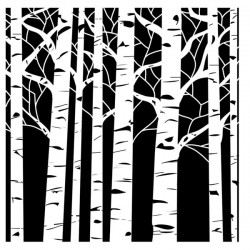 "Crafters Workshop Aspen Trees Stencil - 6"" x 6"""