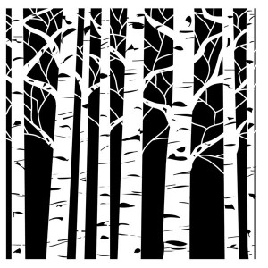 "Crafters Workshop Aspen Trees Stencil - 6"" x 6"" class="