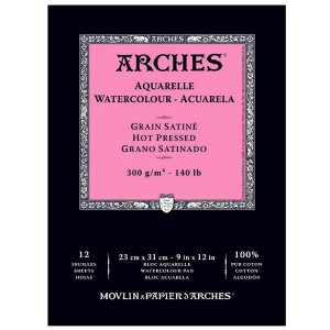 Arches Hot Press Watercolor Paper – 9″ x 12″