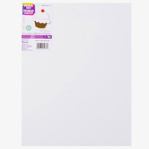 "Darice White Foam Sheet - 9"" x 12"", 2mm thick class="