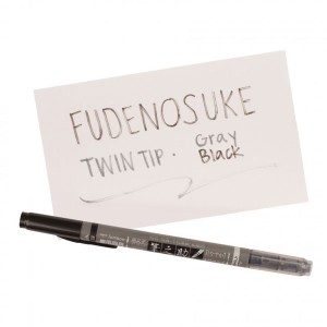 Tombow Fudenosuke Brush Pen - Twin Tip, Black/Grey class=