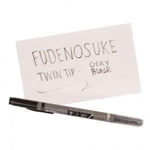 Tombow Fudenosuke Brush Pen - Twin Tip, Black/Grey class=