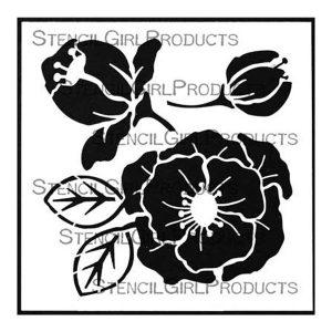 "Stencil Girl Woodcut Roses Stencil - 6"" x 6"""