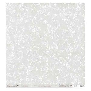 Papermania Glitter Holly Flourish Vellum – 12″ x 12″